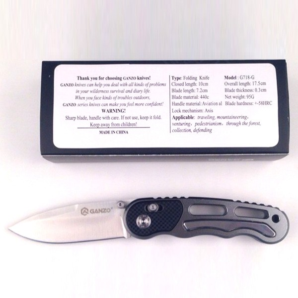 Knife Ganzo G718 (Silvery, Black, Gray)